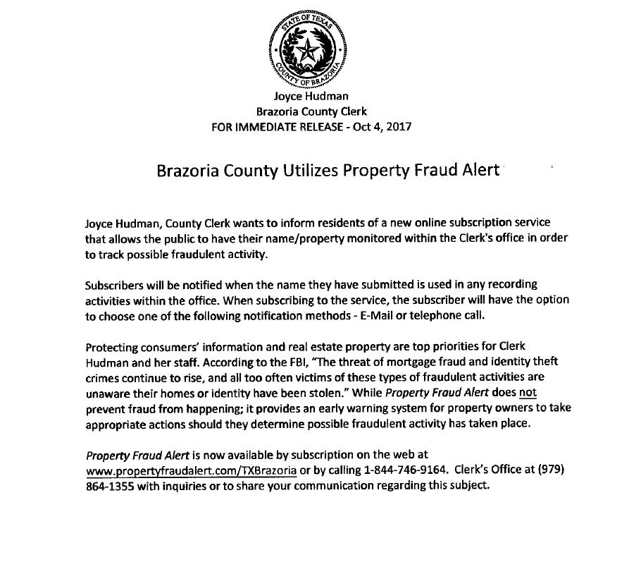 Brazoria County Utilizes Property Fraud Alert Page With Banner And