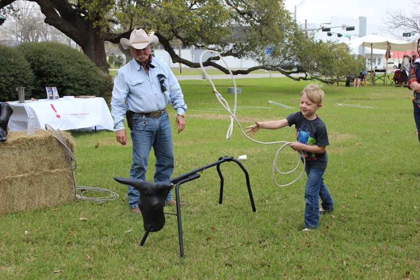 child roping steel stationery cow