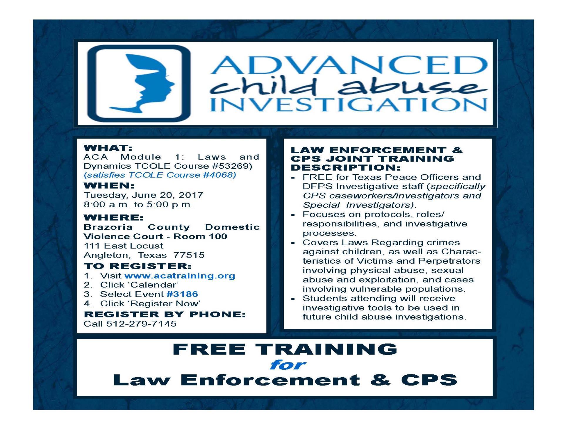 Advanced Child Abuse Investigation Training | County Calendar